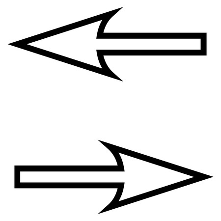 inverse: Exchange Arrows Horizontal vector icon. Style is outline icon symbol, intensive red and black color, white background.