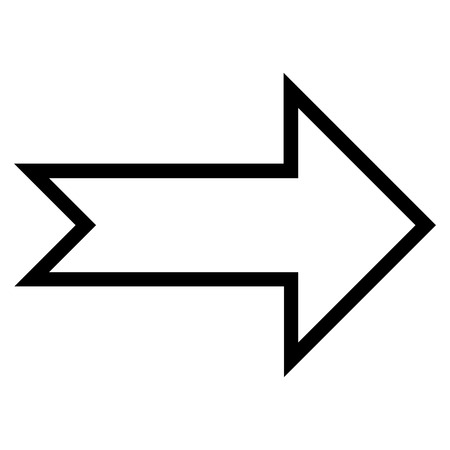 proceed: Arrow Right vector icon. Style is outline icon symbol, black color, white background.
