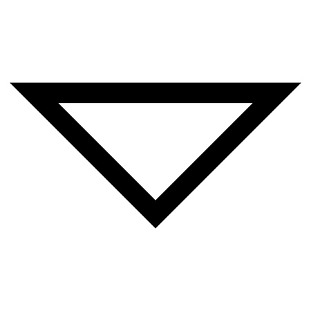 arrowhead: Arrowhead Down vector icon. Style is thin line icon symbol, black color, white background.