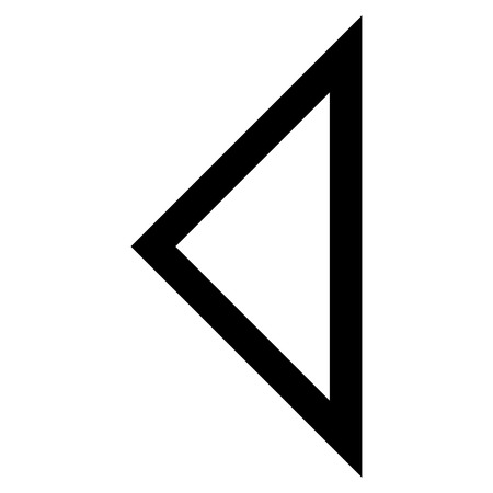 arrowhead: Arrowhead Left vector icon. Style is contour icon symbol, black color, white background.
