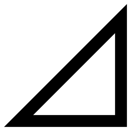 Arrowhead 오른쪽 아래로 벡터 아이콘. 스타일은 컨투어 아이콘 기호, 검은 색, 흰색 배경입니다.