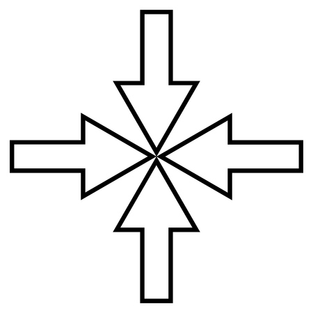 shrink: Compact Arrows vector icon. Style is outline icon symbol, black color, white background.