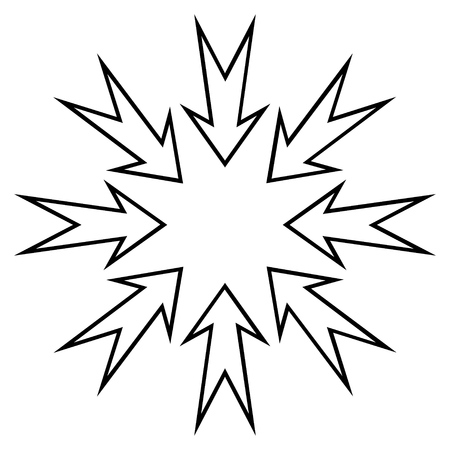 compress: Compress Arrows vector icon. Style is outline icon symbol, black color, white background. Illustration