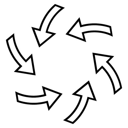 cyclone: Cyclone Arrows vector icon. Style is outline icon symbol, black color, white background. Illustration