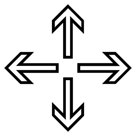expand: Expand Arrows vector icon. Style is stroke icon symbol, black color, white background.