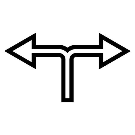 left right: Junction Left Right vector icon. Style is contour icon symbol, black color, white background. Illustration
