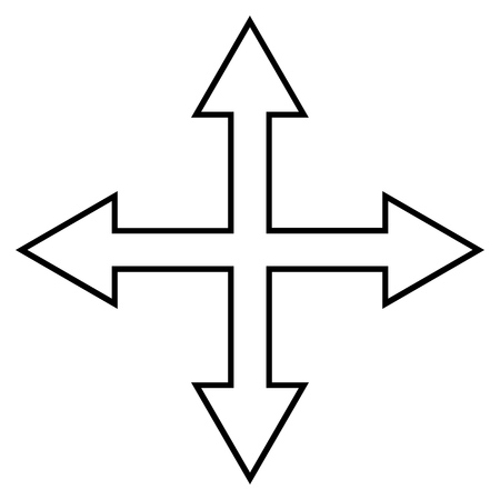 maximize: Maximize Arrows vector icon. Style is contour icon symbol, black color, white background. Illustration