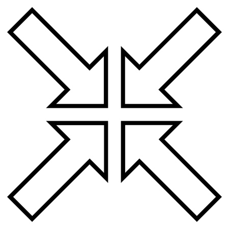 implode: Meeting Point vector icon. Style is contour icon symbol, black color, white background.