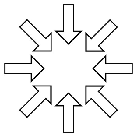 implode: Pressure Arrows vector icon. Style is thin line icon symbol, black color, white background.