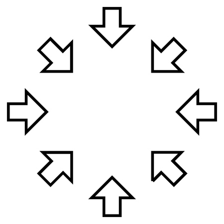 joining forces: Pressure Arrows vector icon. Style is contour icon symbol, black color, white background.