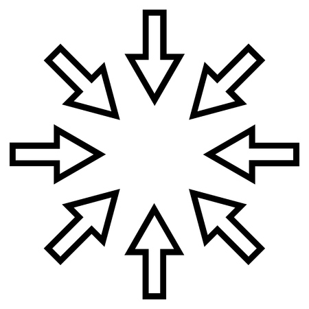 implode: Pressure Arrows vector icon. Style is stroke icon symbol, black color, white background.