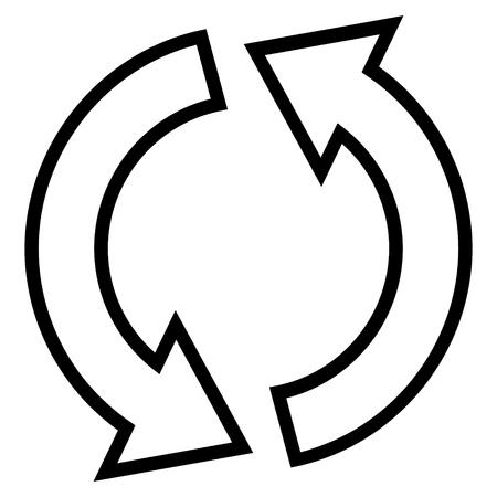 inverse: Refresh Arrows vector icon. Style is stroke icon symbol, black color, white background.
