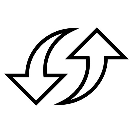 replace: Replace Arrows vector icon. Style is thin line icon symbol, black color, white background.
