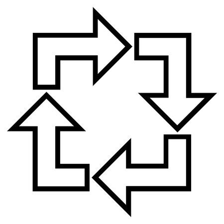 utilization: Square Recycle vector icon. Style is stroke icon symbol, black color, white background. Illustration
