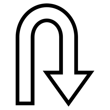 u turn: U Turn vector icon. Style is outline icon symbol, black color, white background.