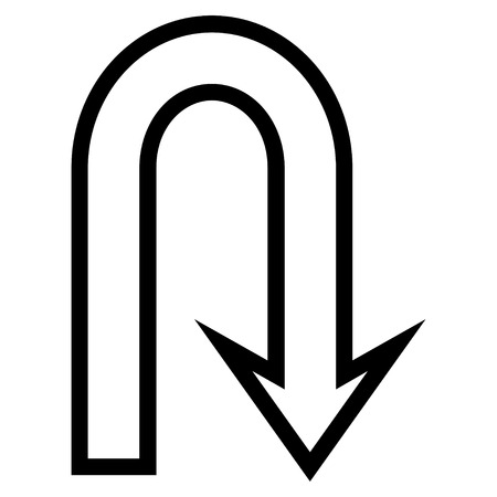 uturn: U Turn vector icon. Style is thin line icon symbol, black color, white background. Illustration