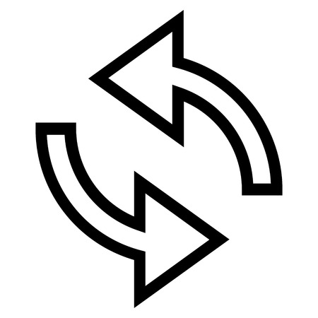 inverse: Update Arrows vector icon. Style is outline icon symbol, black color, white background. Illustration