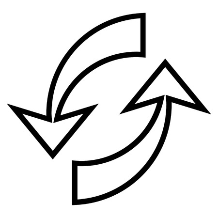 inverse: Update Arrows vector icon. Style is stroke icon symbol, black color, white background.