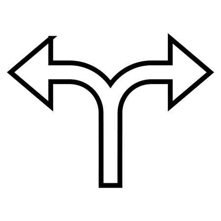 bifurcation: Bifurcation Arrow Left Right vector icon. Style is stroke icon symbol, black color, white background.