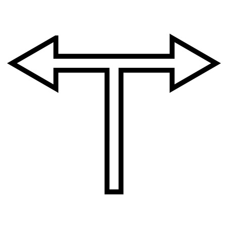 bifurcation: Bifurcation Arrow Left Right vector icon. Style is contour icon symbol, black color, white background. Illustration