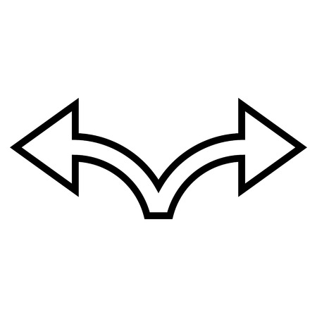 bifurcation: Bifurcation Arrow Left Right vector icon. Style is outline icon symbol, black color, white background.