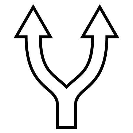 bifurcation: Bifurcation Arrow Up vector icon. Style is outline icon symbol, black color, white background.