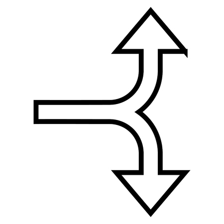 bifurcation: Bifurcation Arrow Up Down vector icon. Style is stroke icon symbol, black color, white background. Illustration