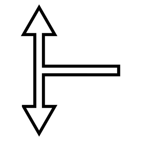 bifurcation: Bifurcation Arrow Up Down vector icon. Style is contour icon symbol, black color, white background.