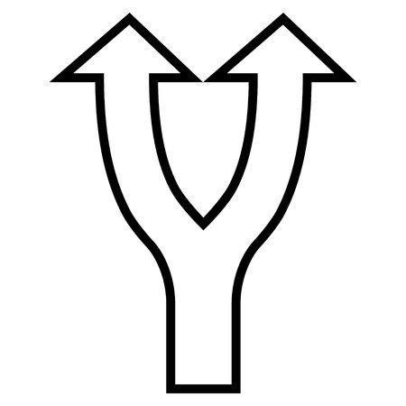 bifurcation: Bifurcation Arrow Up vector icon. Style is stroke icon symbol, black color, white background.