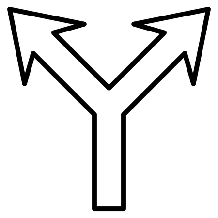 bifurcation: Bifurcation Arrow Up vector icon. Style is thin line icon symbol, black color, white background.
