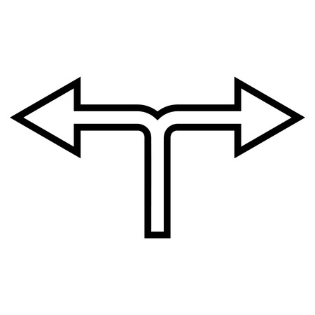 bifurcation: Choice Arrow Left Right vector icon. Style is contour icon symbol, black color, white background.