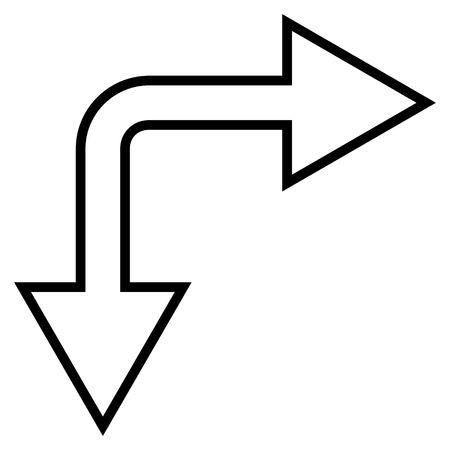 right choice: Choice Arrow Right Down vector icon. Style is outline icon symbol, black color, white background.