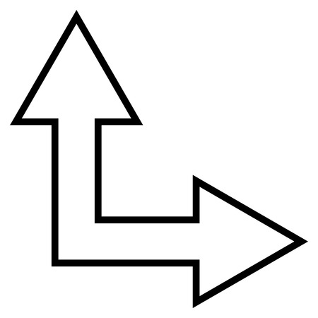 right choice: Choice Arrow Right Up vector icon. Style is outline icon symbol, black color, white background. Illustration