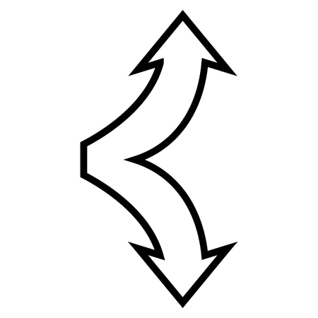 up and down: Choice Arrows Up Down vector icon. Style is contour icon symbol, black color, white background.