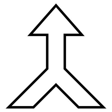 unite: Combine Arrow Up vector icon. Style is stroke icon symbol, black color, white background.
