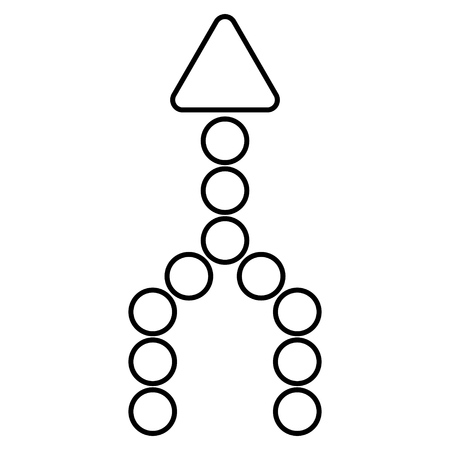 unite: Combine Arrow Up vector icon. Style is thin line icon symbol, black color, white background.