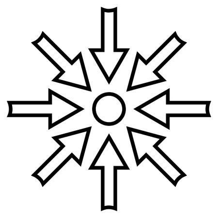 gravitation: Compress Arrows vector icon. Style is contour icon symbol, black color, white background. Illustration