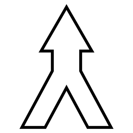 merge together: Connect Arrow Up vector icon. Style is outline icon symbol, black color, white background. Illustration
