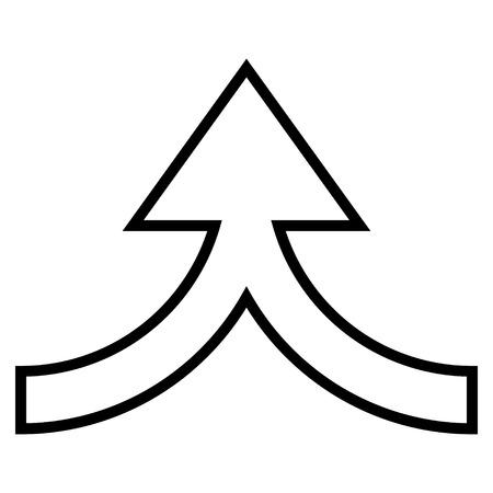 Anschluss Pfeil nach oben Vektor-Symbol. Der Stil ist Umriss-Symbol Symbol, Farbe schwarz, mit weißem Hintergrund. Vektorgrafik