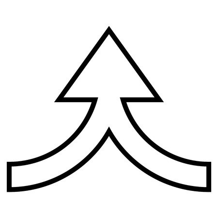 Connection Arrow Up vector icon. Style is outline icon symbol, black color, white background.