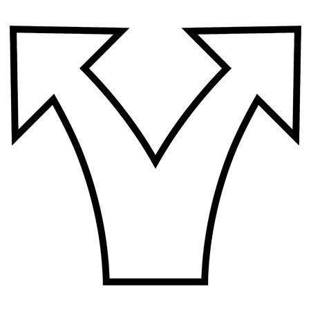 unsure: Divide Arrow vector icon. Style is contour icon symbol, black color, white background. Illustration