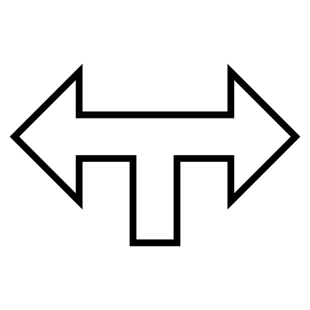 left right: Junction Arrow Left Right vector icon. Style is thin line icon symbol, black color, white background.