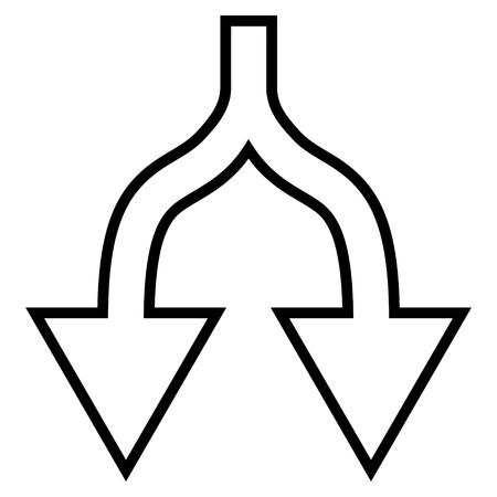 uncertain: Junction Arrow Down vector icon. Style is stroke icon symbol, black color, white background.