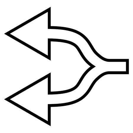 junction: Junction Arrow Left vector icon. Style is contour icon symbol, black color, white background.