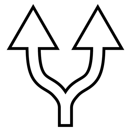 bifurcation: Junction Arrow Up vector icon. Style is contour icon symbol, black color, white background.
