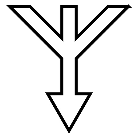 converge: Merge Arrow Down vector icon. Style is contour icon symbol, black color, white background. Illustration