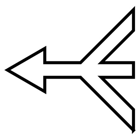 consolidation: Merge Arrow Left vector icon. Style is outline icon symbol, black color, white background.