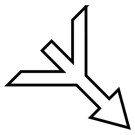 converge: Merge Arrow Right Down vector icon. Style is contour icon symbol, black color, white background. Illustration