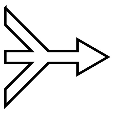 consolidation: Merge Arrow Right vector icon. Style is stroke icon symbol, black color, white background.