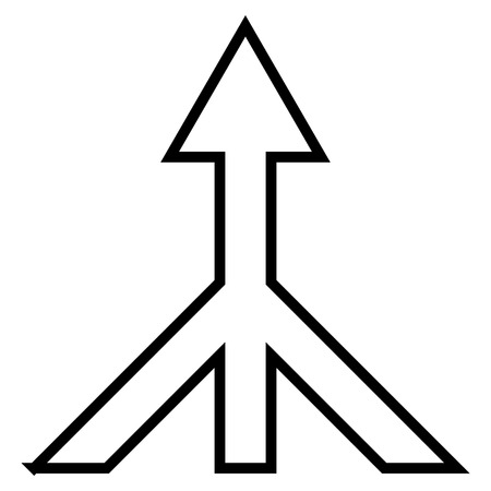 consolidation: Merge Arrow Up vector icon. Style is thin line icon symbol, black color, white background.